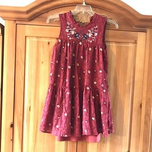 EUC Embroired Rust Lace Ruffle Dress